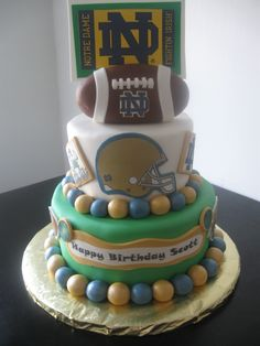 Now this is what i want my next birthday cake to look like! Notre Dame Football Themed Birthday Cake