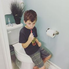 Does anyone else have a little one that has to hide to brush their teeth? #natethegreat by mom_of_3_kimberly