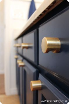 These beautiful brass knobs were just featured on a bathroom makeover on the DIY and home decor blog Batchelor's Way.