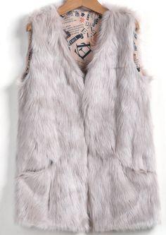 Grey Sleeveless Faux Fur Vest - Sheinside.com