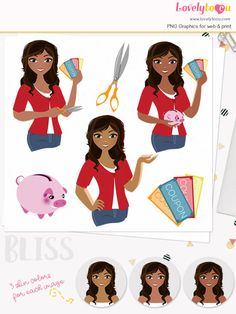 Coupon saver woman character clipart finance girl clipart set