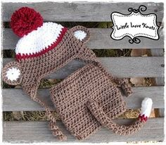 Simply Sweet Baby Boy Sock Monkey Diaper Cover Set Handmade by Little Love Knots
