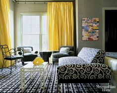 20 Chic Interior Designs With Yellow Curtains | Daily source for inspiration and fresh ideas on Architecture, Art and Design