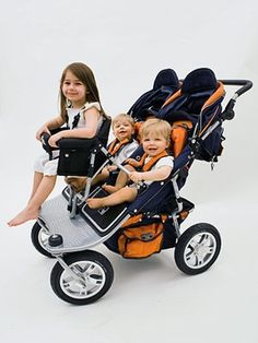 I have this pram and its perfect to walk to the local shops. But not for getting in and out of the car I weights 18kg. My toddler was 15 months when the twins were born and he's a runner so having him strapped in is perfect.