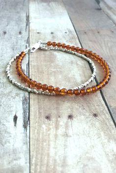 Baltic Amber Bracelet, Women's / Men's Sterling Silver Jewelry, Genuine Amber Bead Bracelet