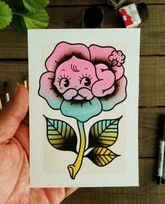 Cheeky Kewpie Doll Traditional Tattoo Original Watercolor by Yukitten'me