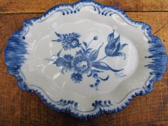 Vintage Hand Painted Dish - Blue and White Floral Dish - Nancie Brown
