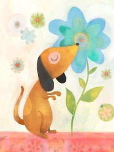 """Puppy's Favorite Flower"" - Canvas Wall Art from Oopsy daisy, Fine Art for Kids."