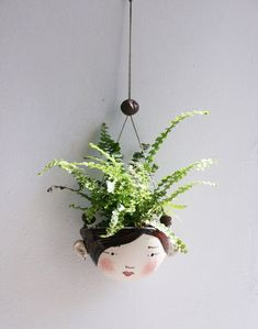 Ceramic mini hanging planter - Piper - chocolate brown and red-succulent or air plant / Indoor Garden & plants Head Planters, Hanging Planters, Planter Pots, Succulent Planters, Air Plants, Garden Plants, Indoor Plants, Indoor Herbs, Moss Garden