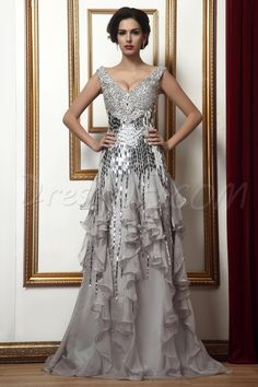 $180.79 Dresswe.comサプライ品魅力的なタリーン母のミセスドレス Vネック ビーズ スパンコール ティアード シース 床長