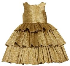 2013e3e1485b She's sure to steal the show at holiday events in this gold dress made from  plissé lamé with a full tiered skirt.