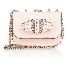 Christian Louboutin Sweety Charity Mini Chain Bag ($1,450) ❤ liked on Polyvore featuring bags, handbags, purses, silver, mini purse, miniature purse, pink handbags, chain purse and light pink purse