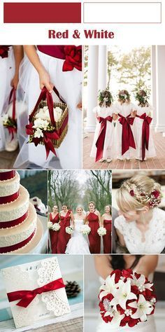 Winter wedding colors - red and white winter wedding ideas weddingideas Red And White Weddings, White Wedding Flowers, Wedding White, Red And White Wedding Decorations, Perfect Wedding, White Bridal, Wedding Fur, Red Wedding Flowers, Wedding Ideas With Red