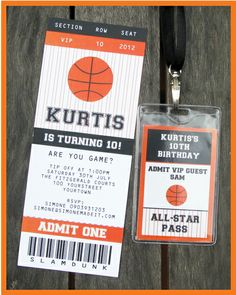 Basketball Ticket Invitation and All Star Pass - love the idea of a ticket as the invite & the star pass is awesome too