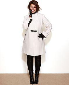 Via Spiga Plus Size Coat, Faux-Leather-Trim Walker - Plus Size Coats - Plus Sizes - Macy's