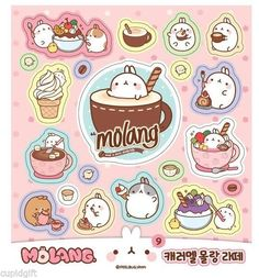 Molang Sticker Mini Book 426EA Diary Scrapbook Korean Cute Decor Deco Index Book | eBay