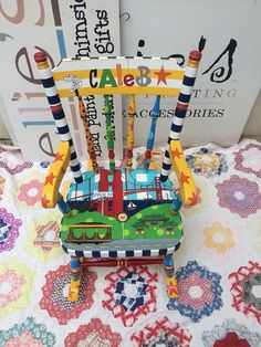 Kids' Furniture Personalized Your City Local Landmarks image 1 Painted Chairs, Painted Furniture, Rocking Chair Plans, Sharpie Art, Made Of Wood, Kids Furniture, City, Birthday, Room Decorations