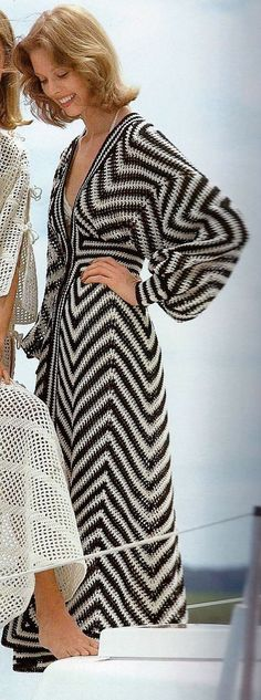 Retro Black and Ecru Beach Caftan or Swimsuit Coverup PDF Crochet Pattern #swimsuitcoverups