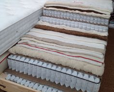 Layers of natural materials that make up a luxury mattress.