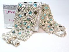 Beadwoven brazalete pulsera  otro ladrillo en por LittlestoneDesign