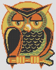 OWL HALLOWEEN PDF Cross Stitch Pattern by RetroLOOMINOTIONS, £2.50
