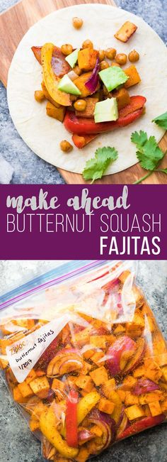Make Ahead Chickpea Butternut Squash Fajitas. Make these ahead and store in the fridge or freezer until you are ready to serve! An awesome healthy dinner meal prep recipe.