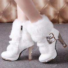 Cheap shoes boots girls, Buy Quality boot shoe laces directly from China boots shoe insoles Suppliers: 2016 Winter Fur Boots Women's Plush Warm Platform Ankle Boots Shoe side zipper buckle Woman High Heels fashion Shoes Black White Fancy Shoes, Pretty Shoes, Beautiful Shoes, Beautiful Pictures, Platform High Heels, High Heel Boots, Heeled Boots, Cute Boots, Sexy Boots