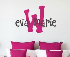 "Eva's monogram, a brand new design to liven up your child's room. The initial is the first letter of the last name. Size shown is 16"" high in hot pink and black vinyl. Size is measured by height, name"