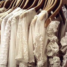 a closet filled with white lace <3