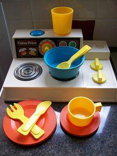 fisher price stove and kitchenware!! :)