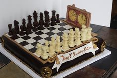 Chess Cake with chocolate pieces http://cakes.anniesartbook.com/2012/08/chess-b-day-cake.html