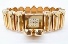 Lot 257- Ladies 18k Rolex Precision Modernist Bracelet Wristwatch 7.25''x1''. Vintage Swiss made 17 Jewel movement. Back of case is marked Rolex with 4599 and band is marked 750 on clasp. Yellow gold bracelet is hinged to hide movement. The set weighs a total of 119.7 grams. Watch is non-working and missing minute hand. Band is in excellent condition.