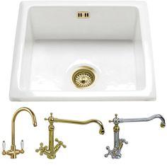 Astini Hampton 100 1.0 Bowl White Ceramic Undermount Kitchen Sink & Gold Waste · $144.99 Ceramic Undermount Sink, Kitchen Sink, White Ceramics, The Hamptons, Gold, Stuff To Buy, Yellow