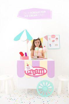 DIY Cardboard Box Ice Cream Cart