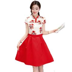 2017 Women Red Retro Vintage Facebook Prints Improved Cheongsam Summer Dresses Elegant Short Sleeves Knee-Length Vestidos