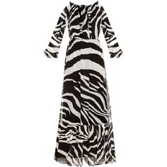 Diane Von Furstenberg Simonia gown ($239) ❤ liked on Polyvore featuring dresses, gowns, black white, ruffle dress, zebra print dresses, black and white evening gowns, black and white ball gowns and black white dress