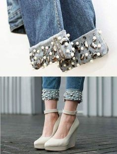 Best 10 Fantastic 30 projects are offered on our internet site. Check it out and you will not be sorry you did – SkillOfKing. Diy Jeans, Jeans Refashion, Lace Jeans, Denim Fashion, Fashion Pants, Love Fashion, Fashion Outfits, Fashion Design, Ropa Upcycling