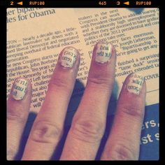 Paint nails white, once dry dip in rubbing alcohol, then place newspaper on nails.  Ta Doy!