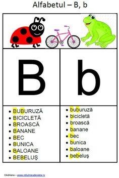 litera B - alfabetul ilustrat Kids Poems, Educational Activities, Kids Education, Grade 1, Speech Therapy, Happy Day, Kids Learning, Montessori, Alphabet