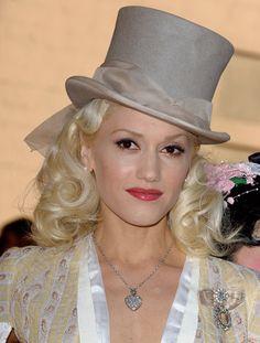 Gwen Stefani in a grey top hat