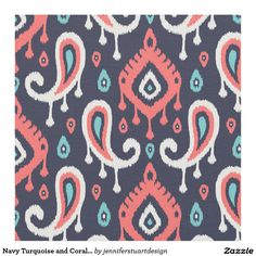 Navy Turquoise and Coral Ikat Paisley Fabric