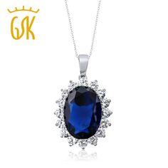 GemStoneKing 13.00 Ct Oval Blue Sapphire 925 Sterling Silver Women's Pendant Necklace