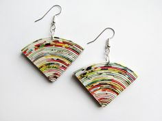 One-of-a-kind, upcycled modern earrings hand made from colourful pieces of magazine pages. Earrings are covered with several layers of ecological varnish