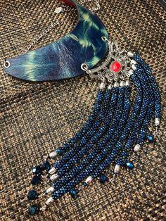 Indigo Shibori Leather Beaded  Neckpiece, Kumihimo, Statement Necklace, Bib necklace