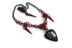 Day of the Dead Guitar Pick Necklace by Bluebirdsanddaisies