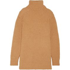 Marc Jacobs Wool and alpaca-blend turtleneck sweater (560 JOD) ❤ liked on Polyvore featuring tops, sweaters, over sized sweaters, long sleeve turtleneck, short-sleeve turtleneck sweaters, beige sweater and chunky turtleneck sweater