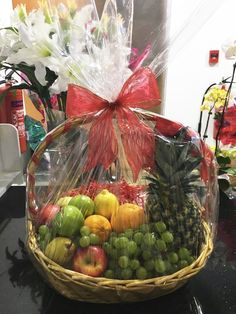 Fruit basket with an assortment of fresh fruits, free next-day delivery in Engagement Gift Baskets, Wedding Gift Baskets, Wedding Gift Wrapping, Wedding Gift Boxes, Homemade Gift Baskets, Best Gift Baskets, Housewarming Decorations, Fruit Decorations, Gift Card Bouquet