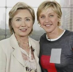 "Ellen DeGeneres and then-Sen. Hillary Clinton at a 2007 taping of ""The Ellen DeGeneres Show"" (Anders Krusberg, Warner Brothers) Hillary Clinton 2016, Hillary Rodham Clinton, Ellen And Portia, Ellen Degeneres Show, My Champion, Liberal Democrats, Us Politics, Warner Brothers, Political News"