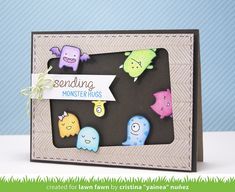 Lawn Fawn - Monster Mash, Interlocking Backdrops, Wish You Were Here, Too, Lime Lawn Trimmings, Stitched Journaling Card (used to create the window) _ card by Cristina for Lawn Fawn Design Team