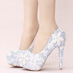 Decorative Lace High Heeled Wedding Shoes